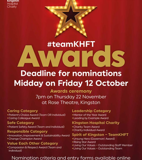 Vote for the Charity and our staff at the hospital awards
